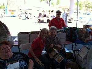 Here is the famous Barbara Strickland helping pack boxes last year!
